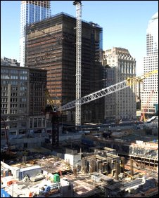 Construction work taking place at Ground Zero