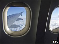The view through a window of an aeroplane