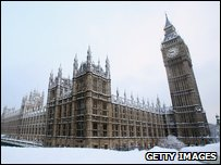 Big Ben and The Houses of Parliament in the snow