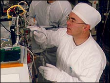 Sir Martin Sweeting in SSTL cleanroom