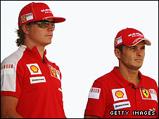 Kimi Raikkonen and Giancarlo Fisichella pose for the photographers at Monza