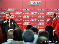 Ferrari president Luca di Montezemolo (left) announces his team's sponsorship deal with Santander bank president Emilio Botin