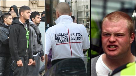 English Defence League supporters and Asian youths in Birmingham