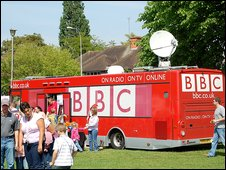 BBC Bus at the Reading Carnival 2009