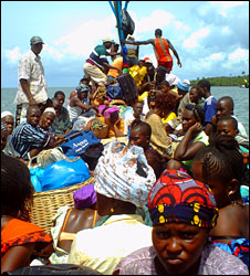 People travelling on boat in Sierra Leone (File photo)