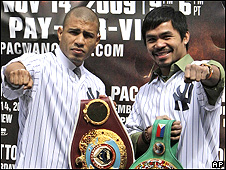 Miguel Cotto (left) and Manny Pacquiao