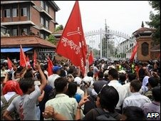 Maoist protesters in Kathmandu in June