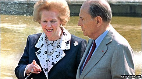 Former Prime Minister Thatcher and former President Mitterand