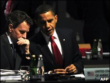 US Treasury Secretary Timothy Geithner and President Obama