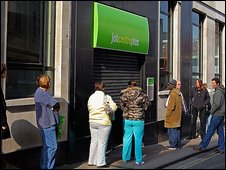 People queue outside job centre