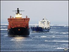 German freighters in the North East Passage in a photo released by Beluga Shipping