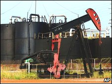 An oil pump in Lagunillas, Venezuela