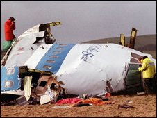Wreckage of the Lockerbie bombing