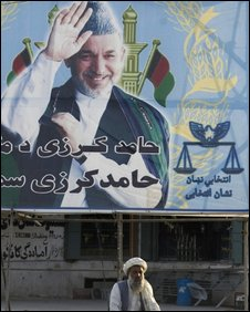 Election poster of Hamid Karzai, Kabul, Afghanistan, September 2009