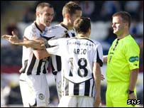 St Mirren complain to referee Steven Nicholls