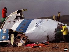 The wreckage of the flight at Lockerbie