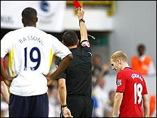 Manchester United's Paul Scholes is sent off