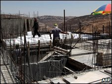 A construction site of new housing units in the Israeli settlement of Givat Zeev, north of Jerusalem