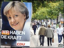 An election poster featuring German Chancellor Angela Merkel in a street in Hanover, northern Germany