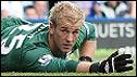 Birmingham City goalkeeper Joe Hart watches as Aston Villa´s winning goal crosses the line