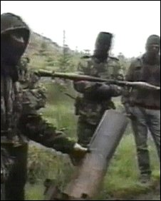 IRA men with rocket launcher and mortar