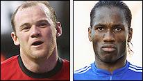 Man Utd´s Wayne Rooney and Chelsea´s Didier Drogba are in  Garth´s team of the week