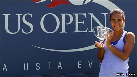 Heather Watson poses with the trophy after her impressive performance