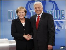 German Chancellor Angela Merkel and Foreign Minister Frank Walter Steinmeier at the TV debate