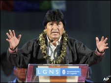 Evo Morales speaks in Leganes