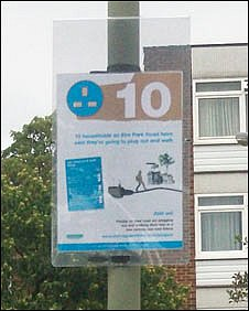 Poster in Barnet encouraging residents to reduce their carbon emissions
