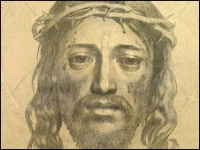 A depiction of the Holy Face of Jesus as Veronica's veil, by Claude Mellan c. 1649.