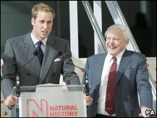 Prince William and Sir David Attenborough at the opening of The Darwin Centre