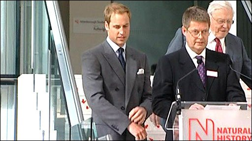 Prince William and Sir David Attenborough at the Darwin Centre