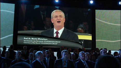 Volkswagen Group chief executive Martin Winterkorn addressing journalists at a briefing ahead of the Frankfurt motor show