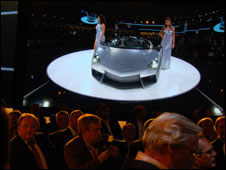 Lamborghini car being unveiled