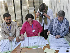 ECC officials examine ballots in Kabul on 13 September 2009
