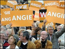 German supporters of Angela Merkel