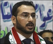 Muntadar al-Zaidi in a news conference after his release