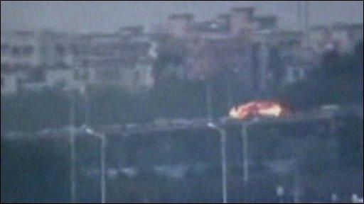 Bus in flames