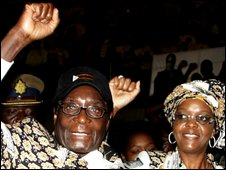 Zimbabwean President Robert Mugabe and his second wife, Grace, at Zanu-PF party youth conference