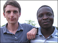Bryan Mealer (left) with William Kamkwamba