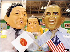Masks showing Yukio Hatoyama and Barack Obama on sale in Tokyo on 8 September 2009