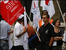 Unite members protesting outside Barclays Bank AGM in August 2009