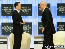 L-R: Chinese Premier Wen Jiabao  and WEF founder Klaus Schwab