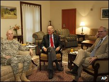 Joe Biden, centre, with US commander Lt Gen Ray Odierno and ambassador Christopher Hill 15.9.09