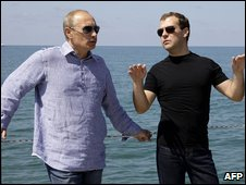 Russian President Vladimir Putin and Prime Minister Dmitry Medvedev in Sochi (14 August 2009)