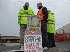 Postal workers on strike in Swindon