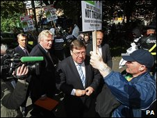 Taoiseach Brian Cowen targeted by nama demo