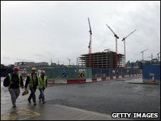 Builders leave Irish construction site