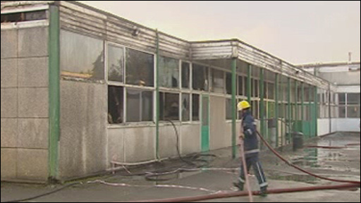 The school fire in Bridgend